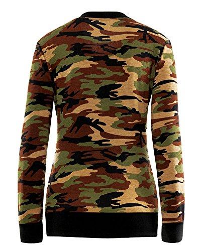 SaiDeng Femmes Loisir Camouflage Jacket Manches Longues Zipper Court Manteau Vert armée