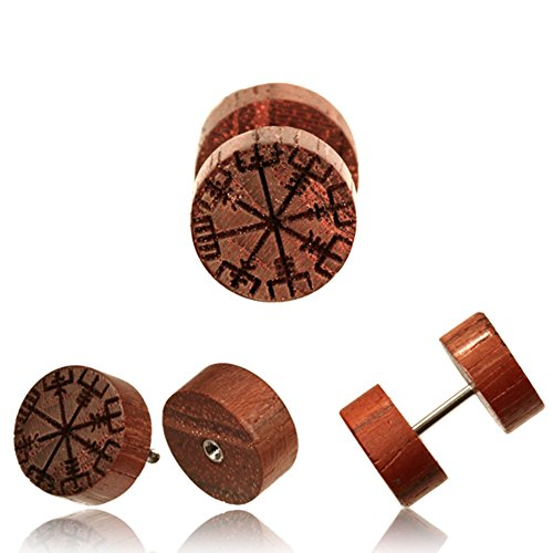 CHICNET® Fake Holzplug Vegvisir Plug Piercing Edelstahl Holz Gravur Wikinger Kompass | Unisex Holzplugs für Männer Frauen | Runen Viking Ohrstecker Damen Herren
