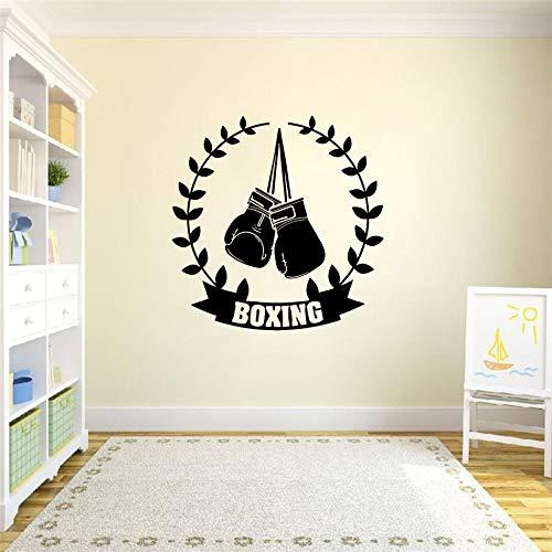 Tianpengyuanshuai Gym wandaufkleber wandplakat Sport Boxhandschuhe dekorrahmen Champion Martial Arts DIY Wand Applique Vinyl Dekoration schwarz 57x57 cm