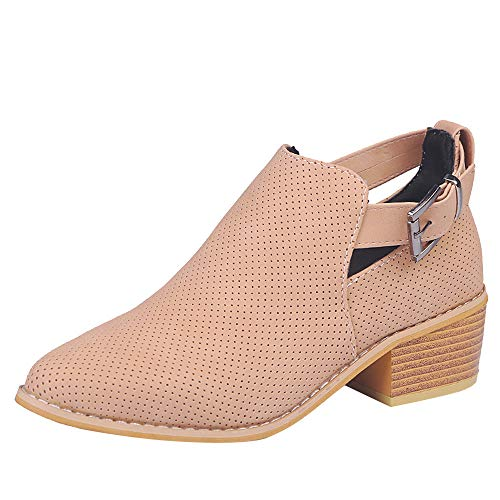 VJGOAL Damen Stiefel, Damen Retro Roman Spitzschuh Wedge Slip On Herbstliche Hohle Stiefel Lässige Schnalle Square High Heel Einzelne Schuhe (Rosa, 40 EU)