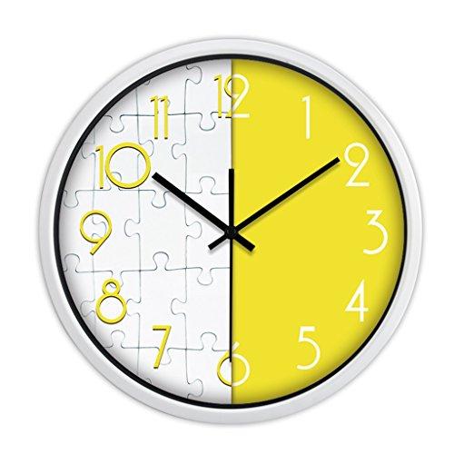 Horloges Métallique Murale Rond Quartz et Montres Balayer Les Secondes Muet Silencieux Convient pour la Chambre et Le Salon (Color : Yellow-B, Size : 35.5cm(14inch))