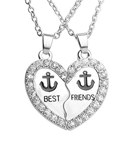 Fengteng Beste Freunde Freundinnen Freund Ketten Herz Förmigen Anker Anhänger 2 Stück Halskette (Beste Freunde Halskette Set)