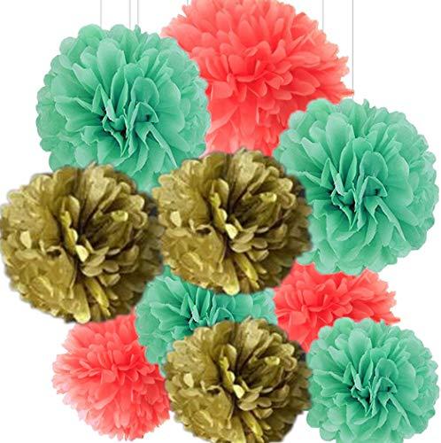 lishistudio 10 Stück 25,4 cm gemischt Mintgrün, Gold, Koralle Seidenpapier Pompons Blumen Bälle für Geburtstag Party Hochzeit Feier Baby Dusche Festival Dekoration (Mintgrün Und Koralle)