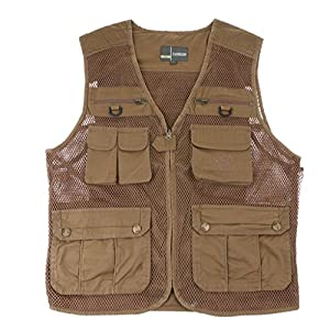 Sharplace Men's Fishing Vest Multi Pockets Photography Outdoor Causual Utility Jacket by Sharplace