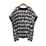 Haroty Femmes T-Shirt Baggy Ample Imprimer Batte Chemise Manches Courtes Cou Rond Tee Shirt Irrégulier Tops Blouses Sizes S M L XL (L, Noir)