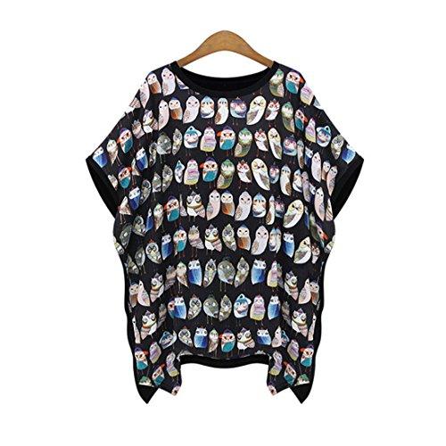 Haroty Damen Frauen Herbst und Sommer Print Casual Loses Asymmetrisch Batwing Shirts Oberteile Blusen Tuniken Tops (L, (Griechische In Trachten Frauen)
