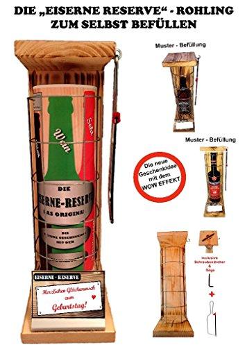 Herzlichen Glückwunsch zum Geburtstag - Eiserne Reserve - ROHLING - ZUM SELBST BEFÜLLEN - incl. Bügelsäge zum aufschneiden des Metallgitters - Das ausgefallenes witziges originelles lustiges Geschenk Geschenkset Flaschenkorb - Bier Wein Spirituosen Geschenk Geschenkidee 2