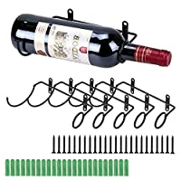 BSTKEY 6 Pack Wall Mounted Iron Wine Bottle Holder Racks - Red Wine Adult Beverages Liquor Bottle Display Holder, Metal Hanging Wine Rack Organizer, Bottle Storage Holder, Bottle Mouth to The Right