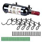 BSTKEY - Set di 6 portabottiglie da parete in ferro, per bottiglie di vino e liquore Bocca della bottiglia a destra