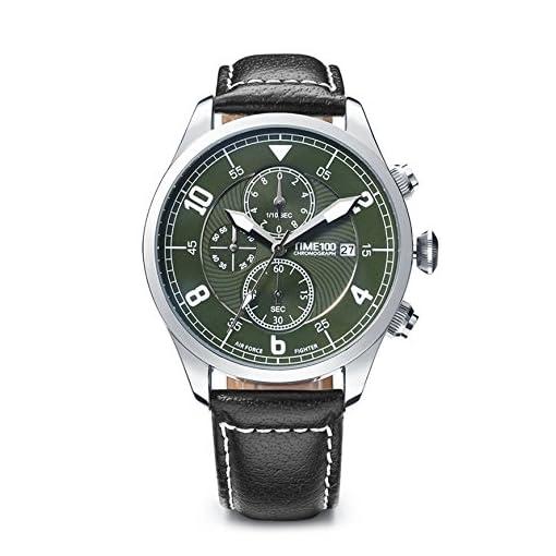 adf8e8265291 Time100 W80092G.02A Reloj pulsera de curazo de piel para hombres ...