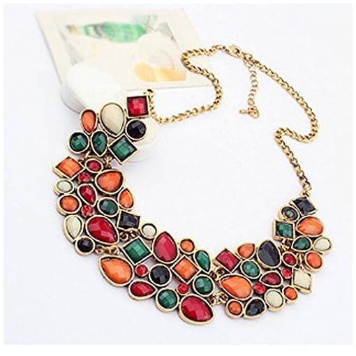 YAZILIND Colorful Short Necklace Choker Bib Statement Crystal Pendant Collar Chunk Women Chain