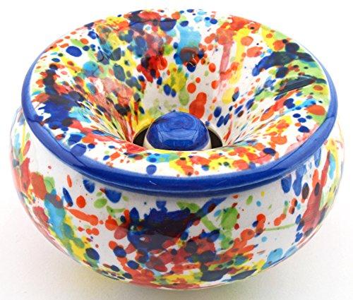 Art Escudellers Geschirr aus Keramik handgefertigt und Handbemalt mit IVANROS Dekoration blau 34412.a - Wasser-Aschenbecher (Handgefertigtes Geschirr Keramik)