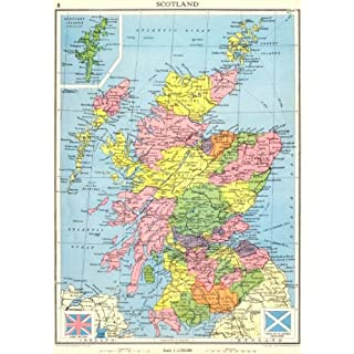 SCOTLAND. Showing counties. - 1938 - old antique vintage map - printed maps of Scotland
