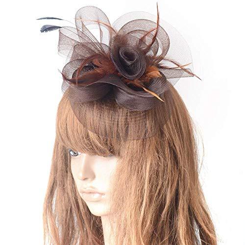 Frauen Fascinator Kopfbedeckung Hüte Für Feder Cocktail Party Hüte Braut Kentucky Derby Headband Geschenk,Brown