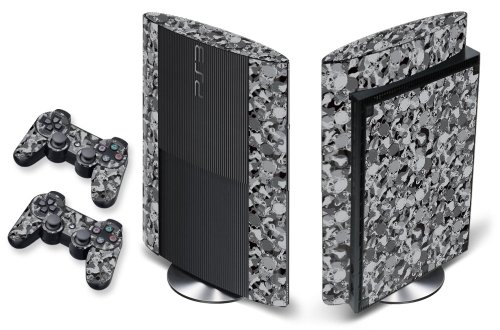 247Skins - Sticker de Protection pour Console PS3 ULTRA SLIM Playstation 3 Sony + 2 Stickers pour Manette PS3 Sony - Skull Camo -Black