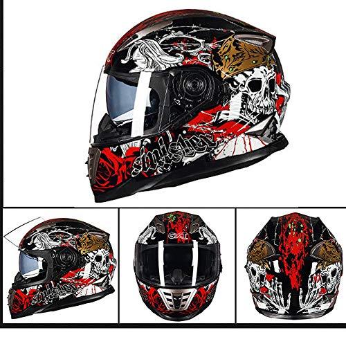 Full Face Motorradhelm Weißer Totenkopf Serie Full Face Racing Motorradhelm mit Doppel-Sonnenblende (M, L, XL),M(55~56cm)