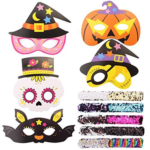 Siebwinn 5 Stück Masken Party Augenmasken und 5 Stück Meerjungfrau Armbänder für Kinder Halloween Cosplay Party, Perfekt für Kinder im Alter von 3 +