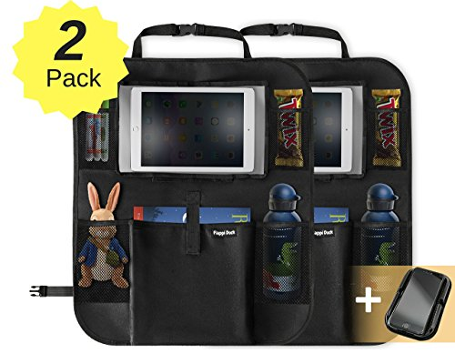 Preisvergleich Produktbild Rücksitz-Organizer für Kinder | 2 Packung | Geräumige Rücklehntasche für Reise-Utensilien und Spielzeug | Leicht abwaschbarer Rücklehnenschutz | Rücksitztasche fürs Auto (Shwarz)