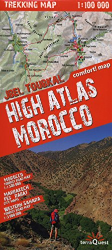 Alto Atlas de Marruecos, mapa excursionista plastificado. Escala 1:100.000. TerraQuest. (Trekking map) por VV.AA.