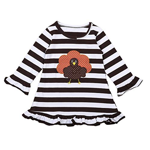 huihui-dedian Baby Mädchen Kleid Türkei Langarm Rüschen Rüschen Kleidung Thanksgiving Kleid Winter Warmer Body Jumpsuit (Braun, 120) -