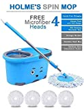 #8: HOLME'S Mop Bucket Magic Spin Mop Bucket Double Drive Hand Pressure with 4 Micro Fiber Mop Head Household Floor Cleaning & 4 Color May Vary (with Soap Dispenser)