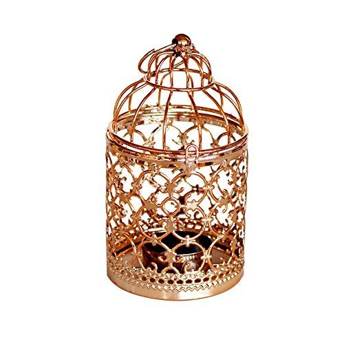Outflower Vintage Birdcage Teelichthalter mit Papier Laternen Leuchterkerzen, Retro Wand-Kerzenhalter ROMANTIC-Kern, Dekoration für Hochzeit/Verlobung/Esszimmer, Legierung, rose gold, 8*8*14 cm