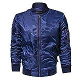 Honestyi Herren Casual Herbst Winter Pure Color Jacke Stehkragen Military Kleidung Mantel(Armeegrün,Schwarz,Blau,M/6XL)