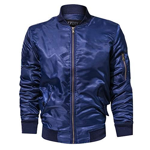 Lazzboy Uomo Giacca Casual Tinta Unita Collo Colletto Manica Lunga Tasca con Cerniera Tuta Moto Oversize Cappotto Militare Abbigliamento(5XL,Blu)