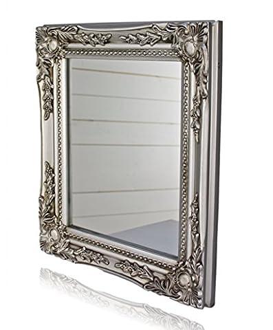 elbmöbel 32x27x3cm rechteckiger Wand-Spiegel, handgefertigter Vintage-Antik-Rahmen aus Holz, silber, inkl. Befestigung