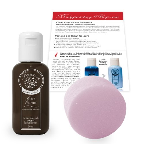 Farbstark Bodypainting Farben - hautfreundliche Körperfarbe in Profi Qualität (auch für Airbrush geeignet), Set: 50 ml Farbe Dunkelbraun + Schminkschwamm