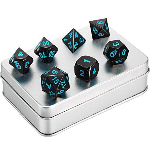 Hestya 7 Stück Metall Würfel DND Polyhedral Solid Metall D&D Würfel Schwarz Nickel Set mit Blauen Zahlen und Metall Box für Rollenspiele Spiel Dungeons and Dragons Spiel, Mathematik Unterricht - 7 Stück Metall