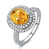Anyeda Ringe Sterling Silber 925 Ovaler Gelber Zirkonia Ring Silberring Hochzeitszubehör für Ihr...