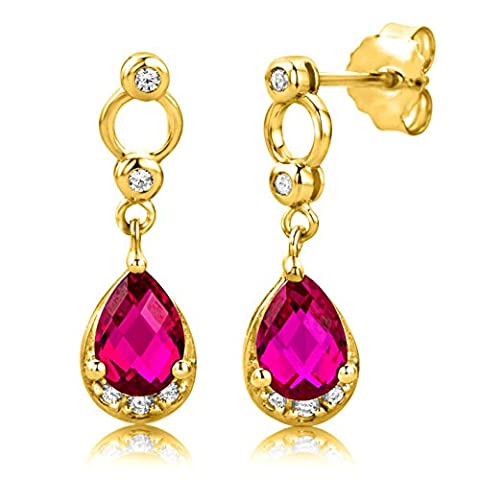 Byjoy 925 Gold Plated Pear Shape Ruby Dangle Earrings