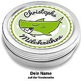 DOCTORS Milchzahndose | Haifisch Henri, grün | personalisiert mit Namen | aus Metall | für Mädchen und für Jungs | Geschenk zur Einschulung, Taufe, Geburt