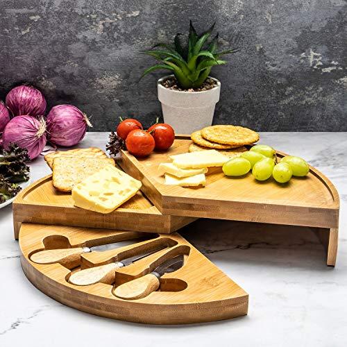 Home treats - tagliere per formaggi in bambù, 3 misure e disegni disponibili rotondo marrone