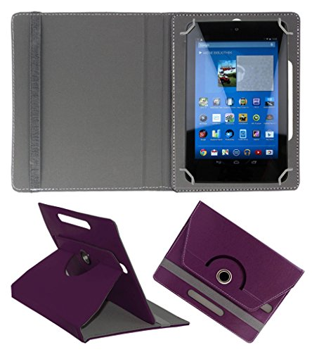 Acm Rotating 360° Leather Flip Case For Dell Venue 7 3740 Tablet Cover Stand Purple  available at amazon for Rs.149