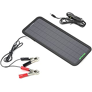 ALLPOWERS 18v 12v 5W Portable Solar Car Battery Charger Bundle with Cigarette Lighter Plug, Battery Charging Clip Line, Suction Cups & Manual