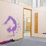 Geiqianjiumai Yoga Studio Yoga Haltung Schlafzimmer Wandaufkleber Mädchen Silhouette Übung Meditation Heimtextilien Applikation Pulver Lila 60X56cm