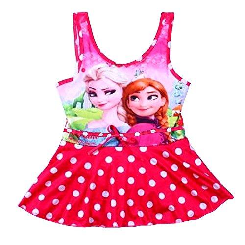 (Größe 120-6-7 Jahre - Badeanzüge - ELSA & Anna - Geführt für Mädchen - Farbe Fuchsia - Polka Dot mit Rock)