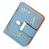 Damen kurzer Punkt Art und Weise weibliche Portemonnaie Hohle Goldblatt Kleine Geldbeutel Große Kapazität Wallet (Azurblau)