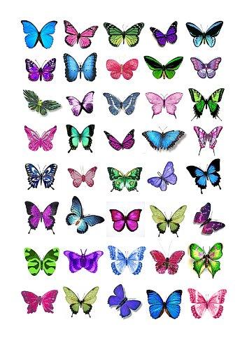 e Bunte Schmetterlingskuchen Topper (Tortenaufleger, Bedruckte Oblaten, Oblatenaufleger) ()