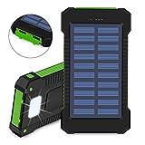 Caricabatteria solare, 10000 mAh Solar Power Bank, doppia porta USB impermeabile antipolvere e antiurto portatile per batterie con luce LED per escursionismo, campeggio e altre attività all' aperto(Verde)