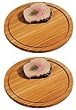 2x KESPER Fleischteller Ø 30 cm Höhe 1,3cm Bambusholz Servierteller Holzteller