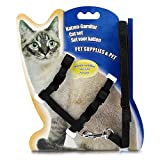 #7: Cat Harness, Adjustable Harness Nylon Strap Collar with Leash, Cat Leash and Harness Set, for Cat and Small Pet Walking- Black Color 1 Set