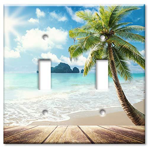 Beach Boardwalk Wandplatte/Schalterplatte Doppelter Kippschalter Mehrfarbig -