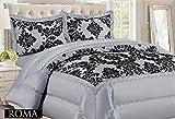 Kelly Tagesdecke Damast, Luxus, Superweich, geflockt, gesteppte Decke, silber/grau/schwarz, 3 Stück, Polyester, Silver Grey Black, King (240cm X 260cm)