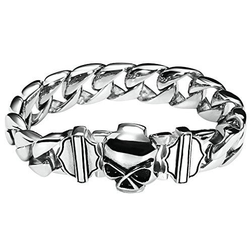 Daesar Herren Edelstahl Armbänder Schädel Armband Curb Cuban Chain Armband Silber (Fuß Dekorationen Bollywood)