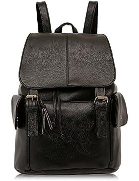 Outreo Rucksäcke Damen Schultertasche Leder Schulrucksack Vintage Rucksack Weekender Tasche Daypack PU Reiserucksack...