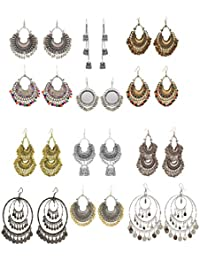 Alcove Fancy Stylish Party/Marriage Wear Combo Of 12 Crystal Dangle & Drop Chandbali with Ghungroo Earrings For Women And Girl