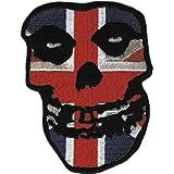 "MISFITS Application Aplicación British Skull Cráneo Patch, Officially Oficialmente Licensed Autorizado Products Classic Rock Artwork,ilustraciones Iron-On / Sew-On, 3"" x 2.5"" Embroidered bordado PATCH PARCHE"